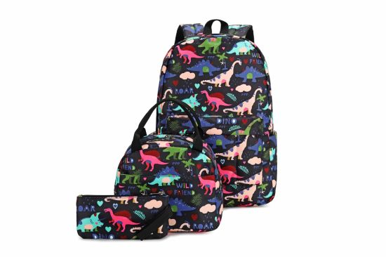 Wholesale Customizable 3 in 1 Cartoon Dinosaur Shoulder Backpack Lunch Bag Pencil Bag School Bags