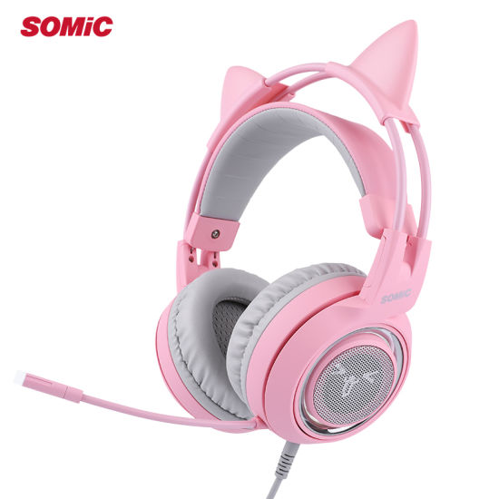 Somic G951 Pink Cat Ear 7.1 Sound Gaming Headset Headphone with Vibration LED Light