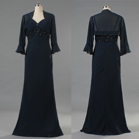 Formal Chiffon Gown Long Mother of The Bride Dresses with Bolero E352