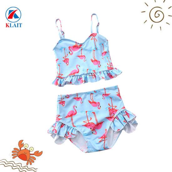 be30c23972 Flamingos Kids Girls Swimsuit Two Pieces High Waist Bathing Suits Ruffle  Swimwear