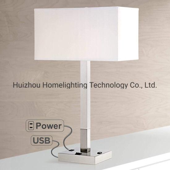 Jlt-Ht01 Modern Table Lamp White Rectangular Shade USB Port and AC Power Outlet in Base for Living Room Bedroom