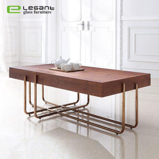 China Rectangle Walnut Veneer Mdf Coffee Table With Rose Gold