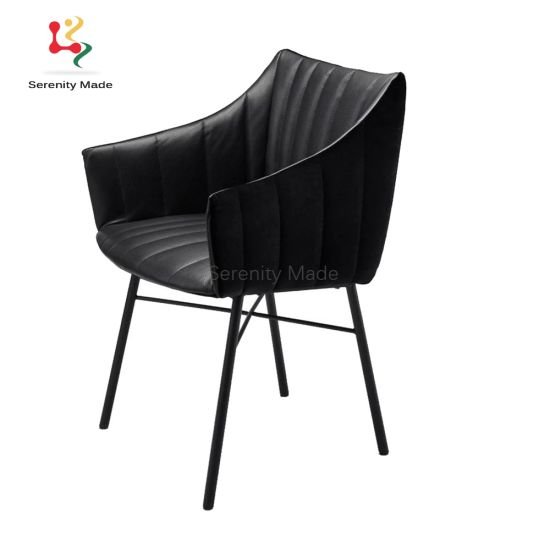 China Black Metal Legs Upholstered Fabric Pub Restaurant Dining Chairs China Fabric Dining Chair Upholstered Dining Chair