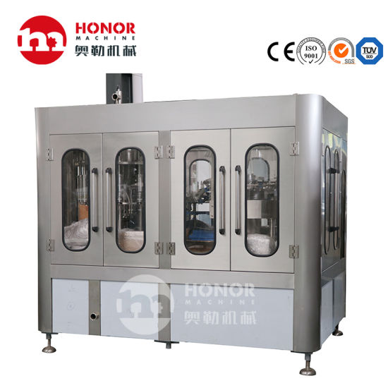 Automatic Rotary 2000bph 4000bph 6000bph Pet Glass Bottle Juice Beverage Carbonated Soda Pure Water Filling Labeling Packing Machine/Line