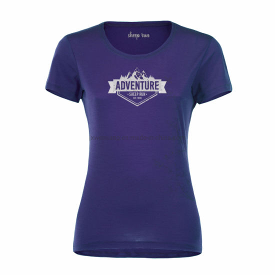 Women's Lightweight Hiking Mountain Graphic Short Sleeve New Zealand Breathable Moisture Wicking Merino Wool Crew Neck T Shirt