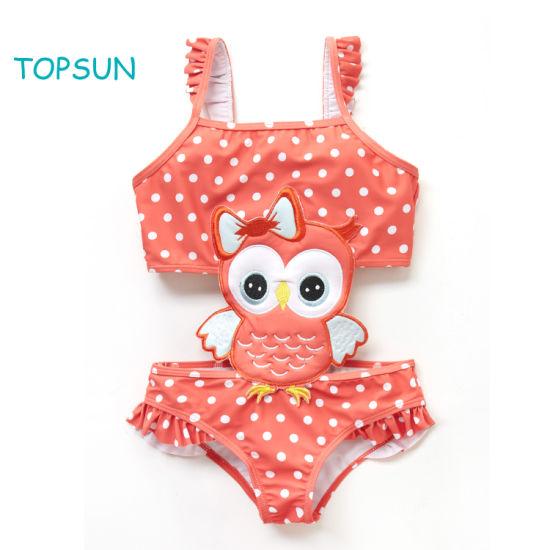The Baby Girl Outdoor Play Wears a Bathing Suit Top and Bikini Skirt Beach Swimwear