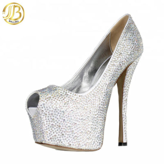 2018 Prom Shoes Silver High Heel Fish Mouth Platform Shoes