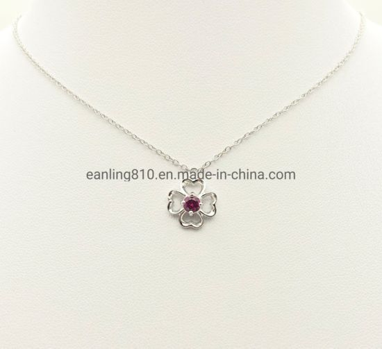 Good Luck Four Leaf Clover Red Cubic Zirconia Stud Pendant Necklace pictures & photos