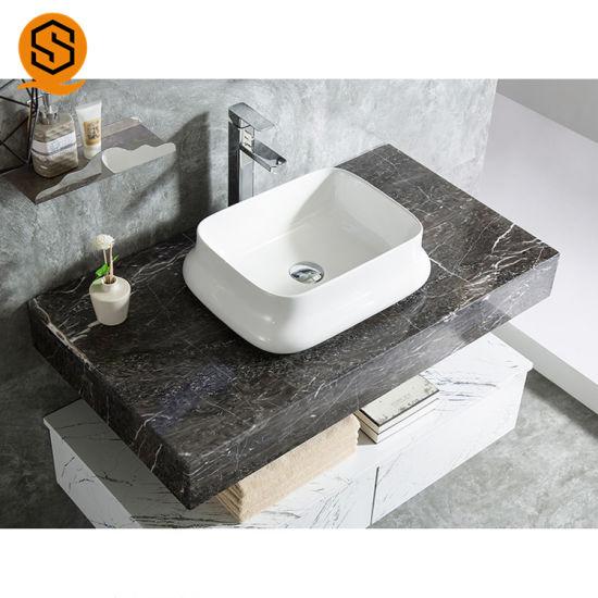 China Wall Hung Black Marble Look Bathroom Vanity Top Vanity Counter Bathroom Tops With Luxury Design China Vanity Top Vanity Bathroom