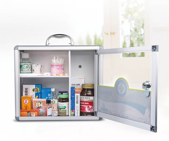 Metal First Aid Cabinet for Medicine Storage with Handle (AB012)