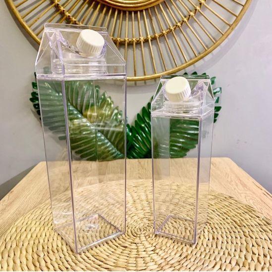 Wholesale Rectangle BPA Free Reusable 500ml Leakproof Creative Transparent Milk Carton Water Bottle