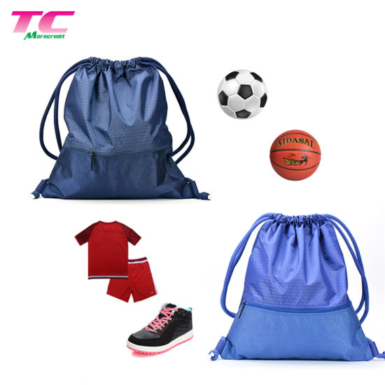 Wholesale Hiking Outdoor Sports Travel Luxury Polyester Drawstring Backpack Bag with Zipper