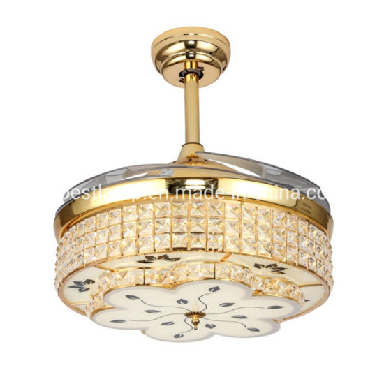 Invisible Fan Lamp LED Ceiling Fan Light Crystal Light