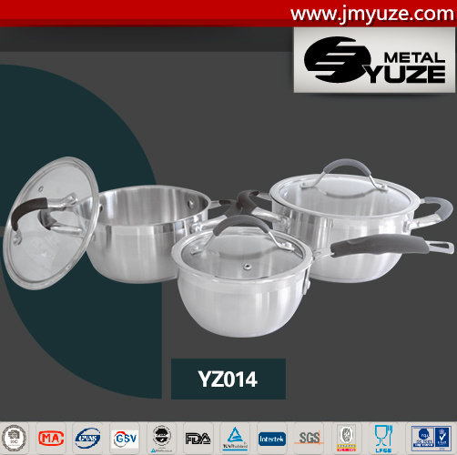 6PCS Stainless Steel Cookware Set with Silicone Handle, Glass Lid, Induction Ready