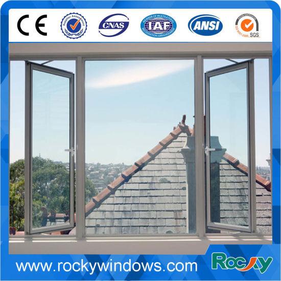 China New Style Toughened Glass Aluminium French Casement Window