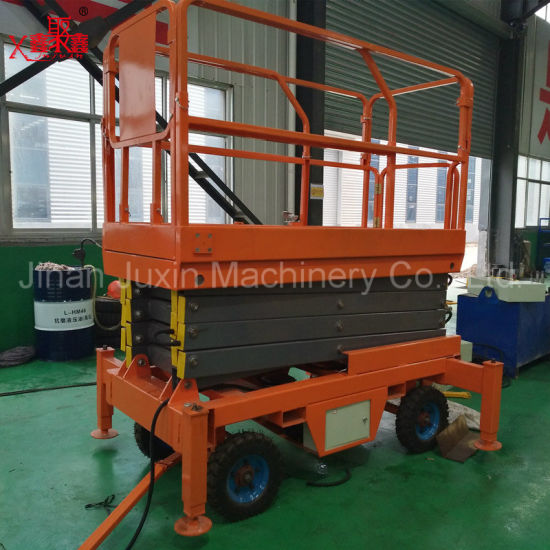 Outdoor Used High Rise Scissor Lift Table 4 Wheels Movable Lift Platform
