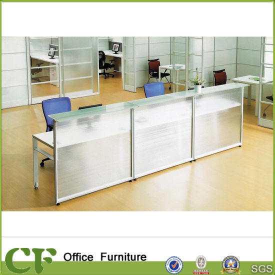 clear office.  Office Fashion Office Furniture Reception Table Clear Glass Modern Desk Throughout