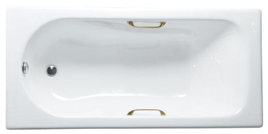 Drop-in Enamel Cast Iron Bathtub with Handle and Drain 180X80X42cm