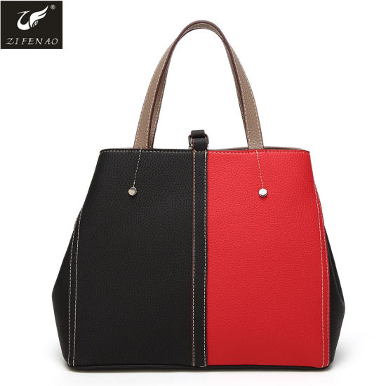3d8c059a9a Wholesale High Quality Black and Red Mixed Color Designer Fashion PU Lady  Handbag