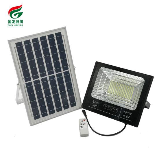 Manufacturer High Quality IP67 Solar LED Outdoor Type Park Parking Lot Waterproof Motion Sensor 100W Watt Flood Light