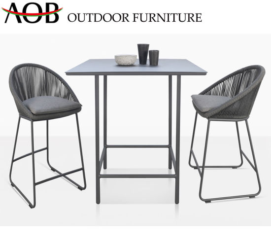 Modern Garden Hotel Poolside Deck Rope Woven Leisure High Stools Dining Table Bar Furniture