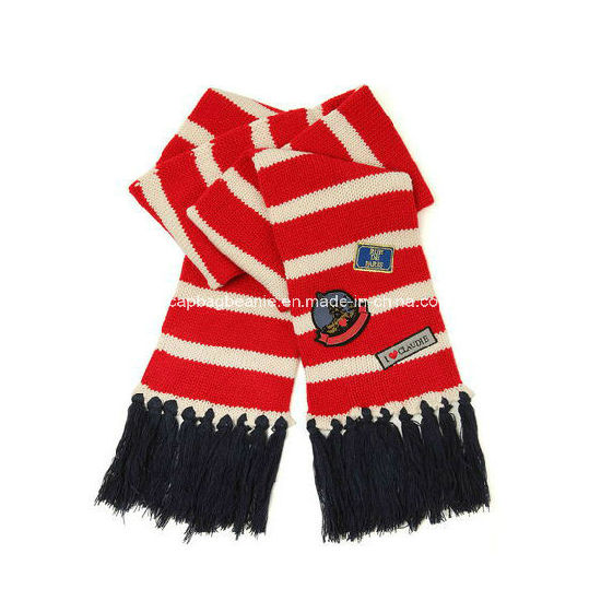 Double Layer Stripe Knit Scarf, Winter Scarf