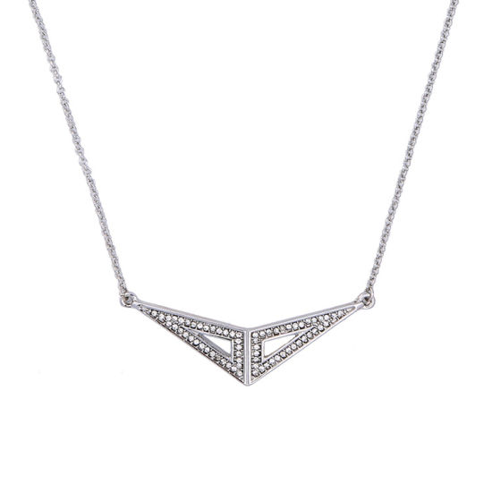 Simple Retro Alloy Diamond Studded Geometric Pendant Short Clavicle Necklace pictures & photos