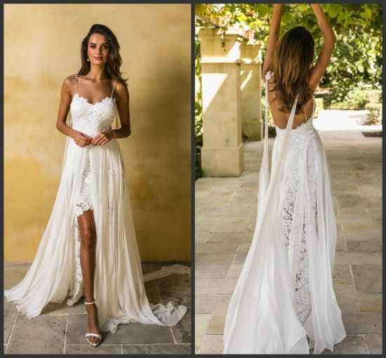 Lace Bridal Gown Spaghetti Chiffon Garden Beach High Low Wedding Dress Y6401