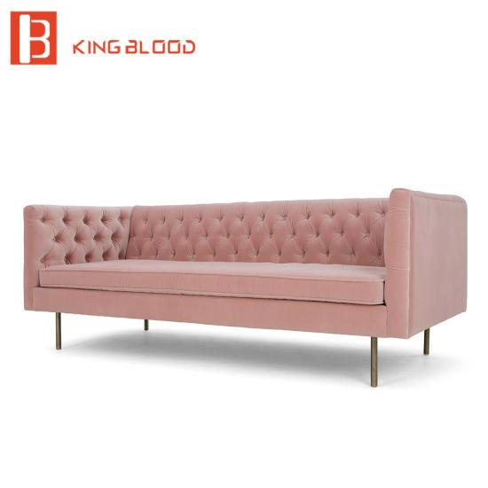 China Tufted Upholstered Velvet Fabric Chesterfield Design Sofa ...