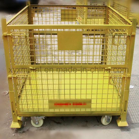 Warehouse Metal Folding Storage Collapsible Stacking Roll Wire Mesh Container