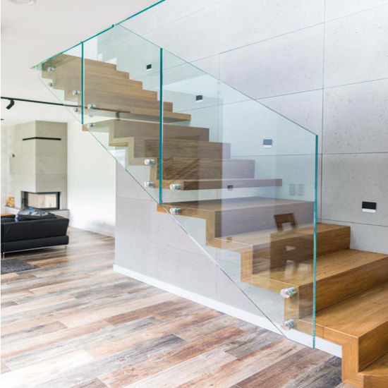 Frameless Glass Railing Standoff Wood Step Indoor Floating Straight  Staircase