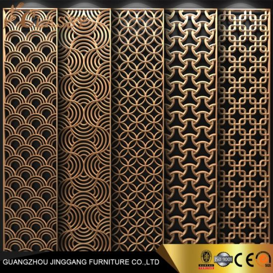 Modern Golden Stainless Steel Decorative Partition Laser Cut Partition for Living Room