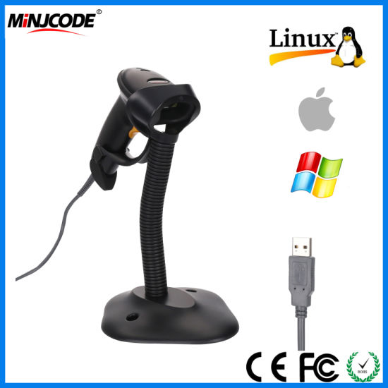 Laser Barcode Scanner, 1d Hand-Free and Handheld Barcode Reader, USB Barcode Reader with High Speed up to 200scans/Sec, with Adjustable Stand Holder, Mj2806at pictures & photos