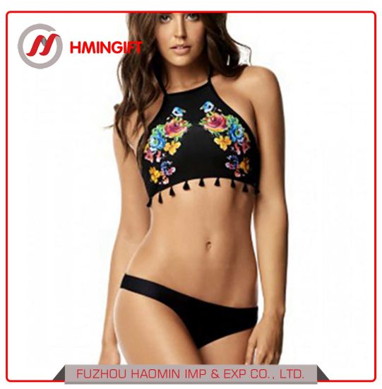 510651b82caeb 2018 Two-Piece Summer New Sexy Printed Lace Fringed Bikini Women's Swimsuit  ...