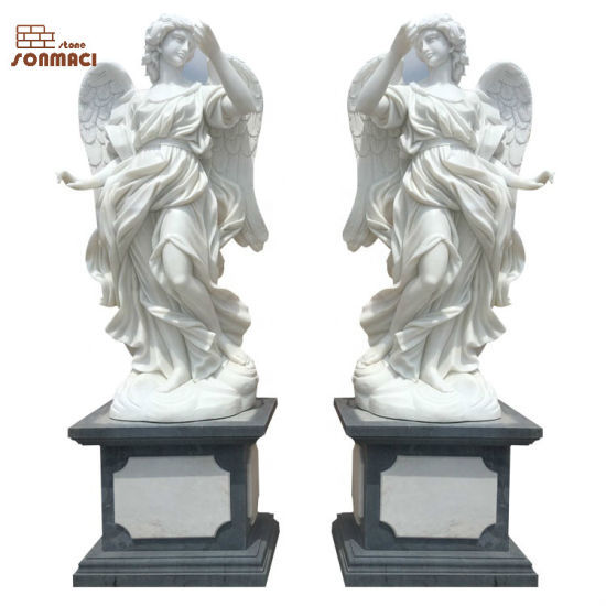 China Life Size Natural White Marble Angel Garden Statue Sculpture