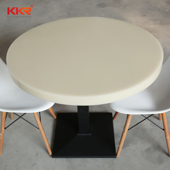 600X600 Round Acrylic Solid Surface Dining Table Set