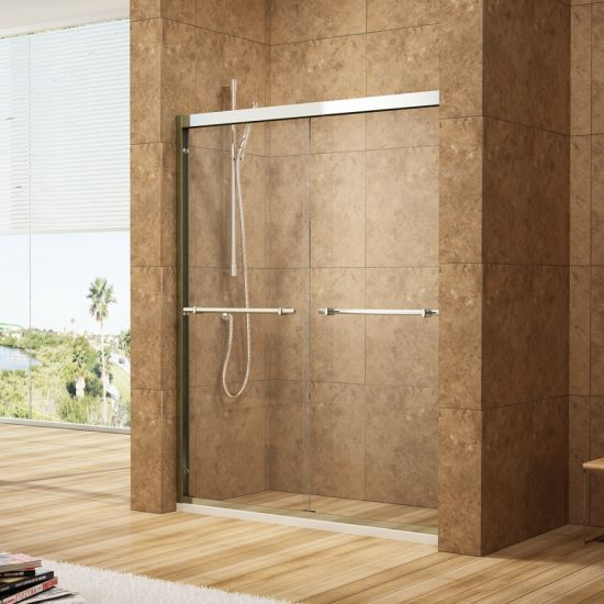Bypass Shower Doors with 8mm Clear Glass & Chrome Silver Al