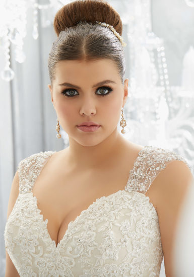 China Lace Bridal Gowns Plus Size Tulle A Line Wedding Dresses