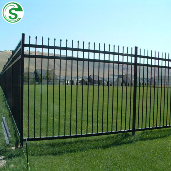 Decorative 3 Rail Flat Top Fence Powder Coated Wrought Iron Ornamental Fencing