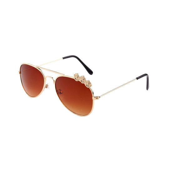 Lovely Flower Design Metal Frame Girls Sunglass pictures & photos