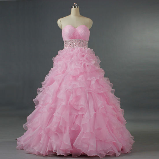 Hot girls in quiceneiera Girls Strapless Pink Bead Ruffle Organza Quinceanera Dresses Prom Gown E288 China 2019 Prom Dresses And Ball Gown Dresses Price Made In China Com