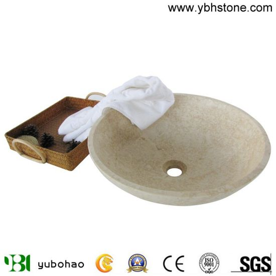 Natural Marble Stone Wash Basin Egyptian Beige Marble Sinks of Bathroom or Kitchen