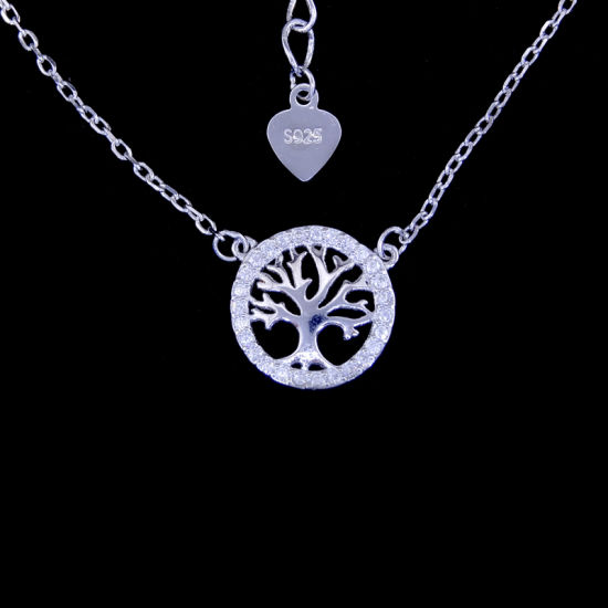 925 Silver Cubic Zirconia Round Tree Pendant Necklace for Unisex Gender