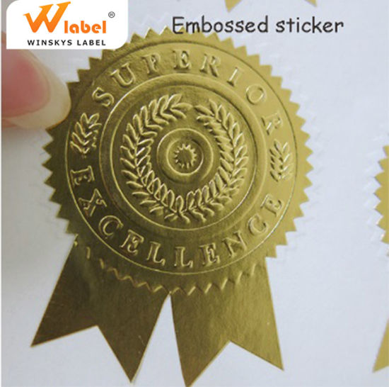 China High Quality Custom Adhesive Gold Foil Embossed Stickers Business  Labels