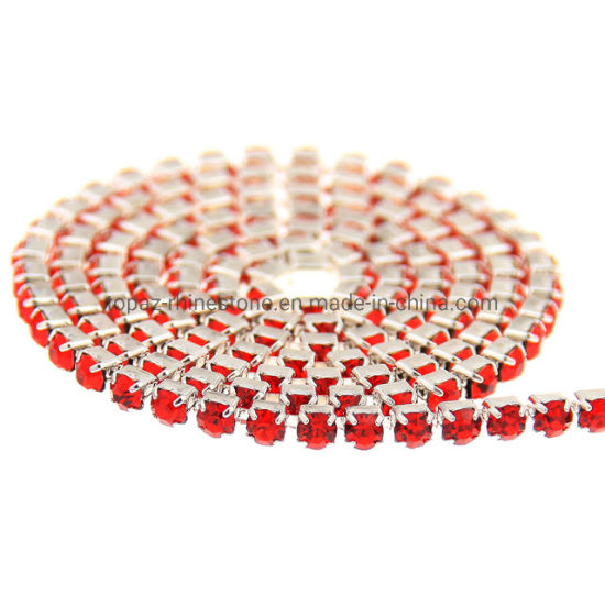 Ss10 Ss12 Silver Crystal Diamond Rhinestone Cup Chain Trimming Strass Cup Chain
