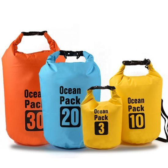 2L 3L 5L 8L 10L 15L 20L 30L 40L Custom Logo Outdoor Polyester PVC Ocean Pack Waterproof Dry Bag