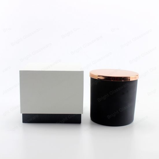 14oz Matte Black Glass Jar Candle Holders with Linen Packaging Boxes