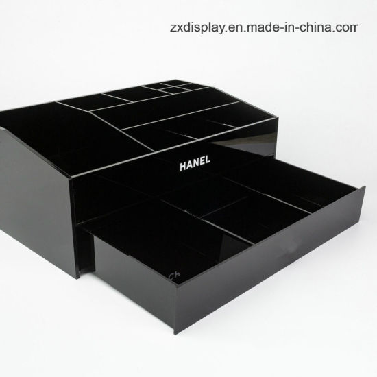 China Black Cosmetics Storage Box Chanels Acrylic Makeup Organizer