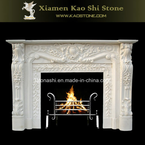 China Popular Design Natural Stone Fireplaces With White Beige