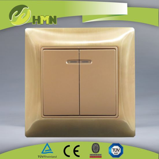 Ce/TUV/BV Certified European Standard Metal Zinc 2Gang With LED GOLD Wall Switch